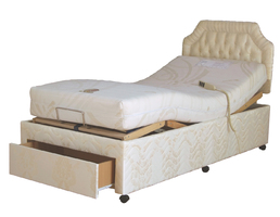Full-Divan adjustable profiling bed part-raised